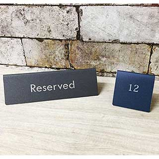 Table Signs - Tarsus Engraved Metal Reserved Tent Signs - Scratch Resistant