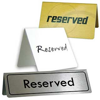 Table Signs - Printed Metal Reserved Tent Signs