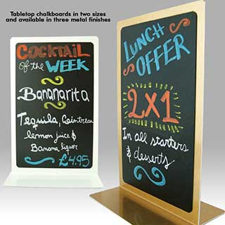 Table Signs - Vertical Metal Chalkboards