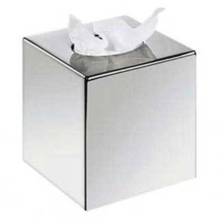 Tissue Box - Cube Tissue Box Cover - Case Qty 6 - Chrome Finish