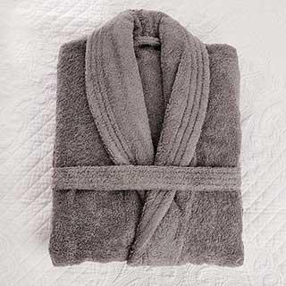Towelling Bathrobe - 100% Luxury Cotton Towelling  - 450gsm - Shawl Collar - Large - Grey