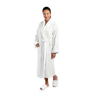 Towelling Bathrobe - 100% Luxury Cotton Towelling  - 450gsm - Shawl Collar - White