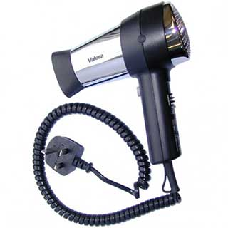 Valera Action Hotel Bedroom Hairdryer - 1600watt- Black / Chrome
