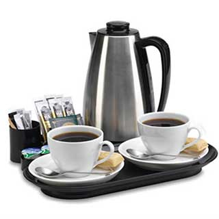 Hotel Hospitality Welcome Tray With Kettle - Valette Beverage Tray - Black