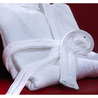 Hotel Bathrobes - Waffle Weave Polyester / Cotton - 220gsm - White