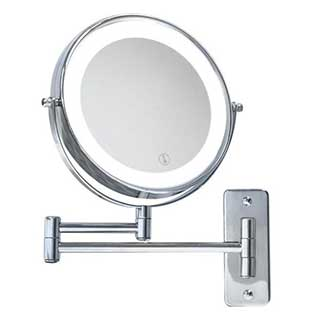 Bathroom Mirror - Wall Mounted Illuminated Cosmetic / Shaving Mirror - Double Sided - Chrome Finish