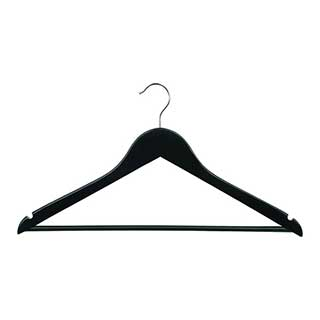 Hotel Wooden Hooked Coat Hanger - Corby Chelsea - Hooked - Trouser Bar - Black - 100 Per Case