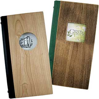 Wooden Menu Cover - Cutout Style - Tag Fixing - Slim Size 140x297mm