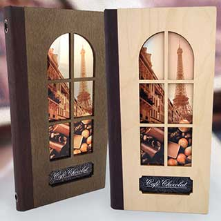 Wooden Cutout Menu Covers With Metal Panel - Tag Fixing - Slim 140x297mm