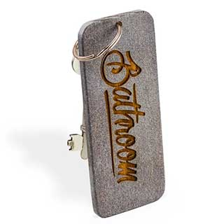 Engraved Wooden Key Tag - 127 X 50mm (5 inch Rectangle) - Grey Wood