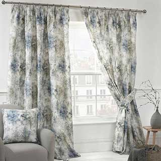Woodland Design Hotel Curtains - Fully Lined - Pencil Pleat Header - Blue