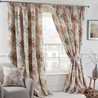 Woodland Design Hotel Curtains - Fully Lined - Pencil Pleat Header - Blush